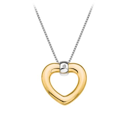 Hot Diamonds Yellow Gold Plated Sterling Silver Just Add Love Bonded Heart necklace DP554